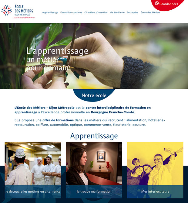 accueil site Internet école métiers dijon