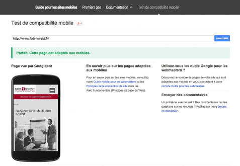 Google Mobile Friendly - site BDR Invest