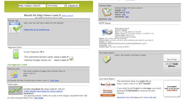 valeur de votre site Web